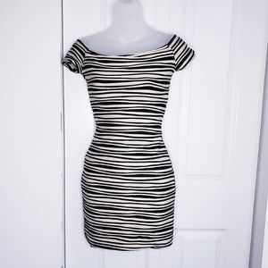 Bandage Striped Nude and black Dress Small